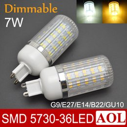 Wholesale Corn Cover - Dimmable 7W SMD 5730 36 LEDs Corn Light Bulb 360 degree LED spotlight With Cover G9 E27 E14 B22 GU10 free shipping