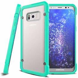 Wholesale Iphone Covers Bumper Purple - Shockproof Hard Phone Bumper Case For iPhone 7 6S Plus Cover Back Clear Matte Armor Funda Soft TPU Bumper Cover for Samsung Galaxy S8 S7 S6
