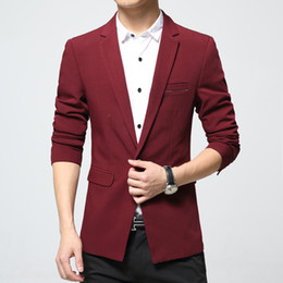 Wholesale Korea Spring Men Jacket - Wholesale- Mens full sleeve jacket long sleeve Blazer black red blue Spring Korea style autumn men Slim fit Korean fashion new 2016 erkek