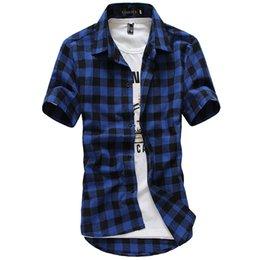 Wholesale Multicolor Mens Shirt - Wholesale- Autumn Multicolor Plaid Shirt Winter Men Grid Shirt Underwear Camisas Shirt Chemise Mens Top Stitching Short Sleeve Shirts B004