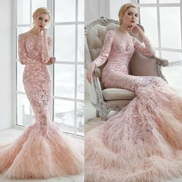 Wholesale Ostrich Feather Wedding Gowns - Charming Pink 2017 Mermaid Wedding Dresses Lace Appliques Long Sleeve Wedding Gowns Sweep Length Ostrich Feather Bridal Ball Gown