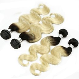 Wholesale Two Tone Hair 1b 613 - 4 Bundles T 1B 613 Dark Root Blonde Extensions Virgin Hair Body Wave Two Tone Ombre Peruvian Brazilian Indian Remy Human Hair Weave