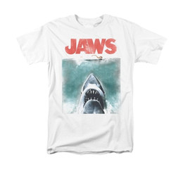 Wholesale Wholesale Movie Poster Printing - Wholesale- Jaws Movie Vintage Poster men Adult T Shirt Short sleeve shark printed cool tshirt