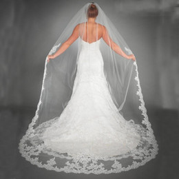 Wholesale Chapel Length Soft Tulle Veil - Stunning Hot Sale Beautiful White Tulle Bridal Veils Bridal Accessories Lace Appliques Edge Long Bridal Soft Tulle for Wedding Party