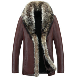 Wholesale Genuine Raccoon - Wholesale- 2017 Men's Leather Jacket Faux Lambswool Leather Jacket Men Thick Raccoon Fur Collar Jaqueta Couro Masculino Plus Size 5XL