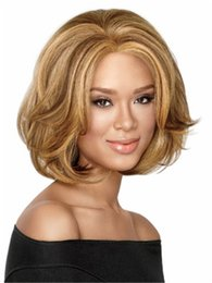 Wholesale Natural Wave Fashion - NEW Short light brown blonde wavy Heat resistant fiber synthetic wig capless fashion wig for women free shipping