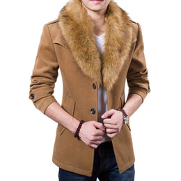 Wholesale Trench New Fashion - Wholesale- New Mens Pea Coat 2015 Fashion Design Fur Collar Mens Slim Fit Wool Blend Trench Coat Jacket Brand Stylish Overcoat Peacoat XxxL