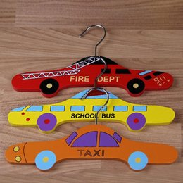 Wholesale Office Wardrobes - Cute Cartoon Wooden Bus Car Taxi Shape Kids Boys Clothes Hanger Baby Children Hanger Garment Holder Racks Wardrobe Organizer ZA3458