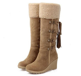 Wholesale Medium Air Wedge - 2017 Hot Sale Botas Women Winter Boots 7cm High Heels Knee High Boots Lady Shoes Black Beige Yellow Snow Boots