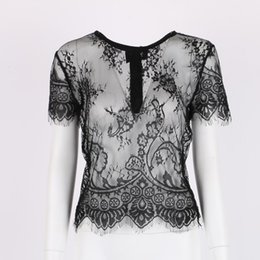 Wholesale Stylish Womens Tops - Wholesale- New Stylish Womens Sexy Hollow Short Sleeve Lace Crop Top Shirt Tops Vest Hot