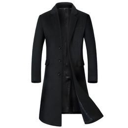 2019 jaqueta de gola mandarim de veludo Shanghai História Outono / Inverno Mens Silm Fit longa mistura de lã Trench Coats Moda Sólidos Overcoat Sobretudo Masculinos Inverno