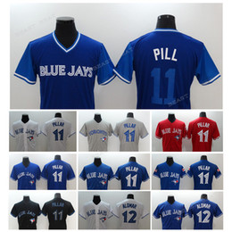 Wholesale Free Freight - Men's Baseball Jersey Toronto Blue Bird #11 Kevin Pillar #12 Alomar flexbase Baseball jerseys S-3XL, free freight.