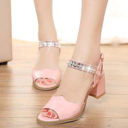 Wholesale Pink Kitten Heels - 2017 summer new fish head designer sandals large size shoes fashion diamond wild shoes women sandals