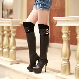 Wholesale Knee Length High Heels Boots - Boots PU New arrival winter female shoes knee-length plus size 40 41 42 high heel 12CM Platform 4CM EUR Size 34-43