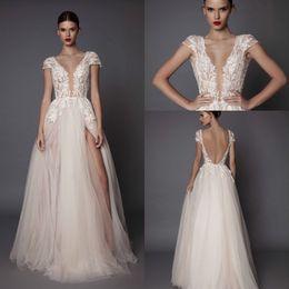 Wholesale Side Slit Bodice Dress - 2017 New Hot A Line Wedding Dresses Deep V Neck Tulle Side Split Cap Sleeve Cheap Bridal Beach Open Back Berta Wedding Gowns