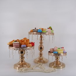 Wholesale Crystal Cake Stand Set - Cake stand metal iron crystal pendant cupcake stand wedding party decoration supplier baking & pastry cake dessert tools 3 color