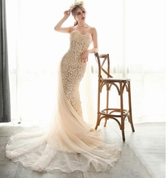 Wholesale Online Wedding Dress Bridal Gown - 2017 Wedding Dresses Online Cheap Sweetheart Sheath Bridal Gowns Champagne Strapless Gowns Lace Appliques Free Shipping Custom Made