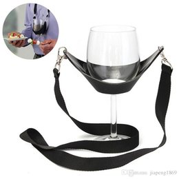 Wholesale Neck Yoke - Glass Holder Portable Wine Strap Wine Sling Yoke Glass Holder Support Strap For Birthday Cocktail Party Black Neck Strap Glass