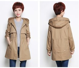 Wholesale Ladies Hooded Military - Plus size Khaki bomber jacket women military pregnant safari suit military utility ladies Hooded out wear long sleeves trench coats