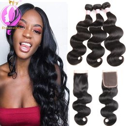 Wholesale Natural Hair Products Wholesale - Unprocessed Body Wave Human Hair Bundles With Lace closure Brazilian Human hair Extensions Brazilian Virgin Human Hair Products Wholesale