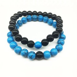 Wholesale Blue Beads Jewelry - 2017 Wholesale Handmade Blue stone matte yoga set Buddha Beads Natural Stone Volcanic Rock Bracelets for Men Women Jewelry