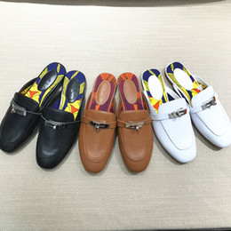 Wholesale Indoor Outdoor Design - 2017 women fashion design H brand lock printing Genuine Leather slippers ladies outdoor shoes casual sandals with original logo