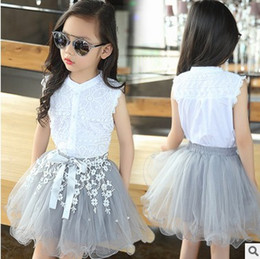 Wholesale Embroidered Tulle - 2017 hot selling Princess Girl's Dresses New Autumn Kids Clothes two-pcs Girl Princess Party Dandy B4579