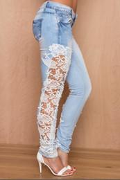 Wholesale Pants Jeans Floral - Wholesale- Londinas Ark Store 2017 Plus Size Fashion Jeans Hollow Out Lace Floral Side Stitching Stretch Denim Slim Women Pencil Jeans