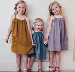 Wholesale Girls Cotton Candy Dress - INS new arrival Girl dress summer sleeveless 100% cotton candy color suspender dress girl elegant dress 3 colors