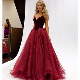 Wholesale elegant organza evening dresses - 2016 Elegant Burgund Long Evening Dresses Velvet Organza Sweetheart Off Shoulder Sleeveless Backless Red Prom Gowns FloorLength Plus Size