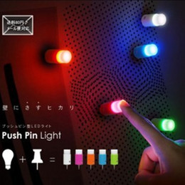Wholesale Led Push Pins - Wholesale- 5pcs Colorful Mini Push Touch night light LED Pin light Romantic Bar Light best led toy Atmosphere Lamp party supplies