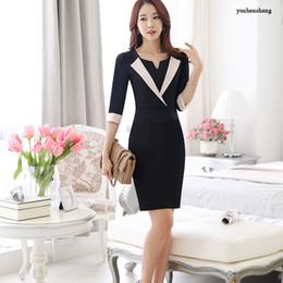 Wholesale Black Business Suit For Women - Plus size vogue style women business wear summer formal suit femme 1 2 sleeve bodycon work dress uniform for office lady work wear