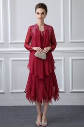 Wholesale Dark Green Suit Coat - Dark Red Formal Two Pieces Mother Of the Bride Dresses V Neck Appliques Mermaid Tea Length Mother Dress With Coat Evening Gowns Cheap