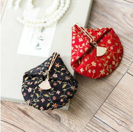 Wholesale Silk Coin Purse Brocade - Hasp Card Position Pattern Coin Youth Mini Change Brocade Fan-Shaped Personality