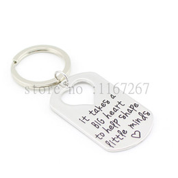 "Wholesale Dog Shape Keychain - Wholesale-2015 Teacher's Jewelry Teacher Gifts "" It Takes a BIG Heart to Help Shape Little Minds"" Silver Pendant Necklace Dog Tag Keychain"