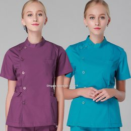 Wholesale Oral Breast - Women hospital scrub set oral doctor medical clothing dental spa clinic beauty salon nurse uniform surgical suit slim work wear medical robe