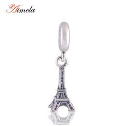 Wholesale Travel Charms Sterling Silver - Wholesale- AIMELA 925-sterling-silver Eiffel Tower Dangle Charms Pendant European Travel Charm For Women Bracelets DIY Jewelry Making LW086