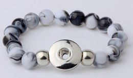 Wholesale Synthetic Jewelry Stone - NOOSA Snap Button Bracelet Bangles 10mm Resin Stone Beads 18mm Snaps High Quality DIY Snap Buttons Jewelry Single Snap High Quality 10 color
