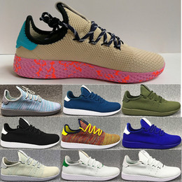 Wholesale Cheap Rainbow Shoes - 2017 Originals Pharrell Williams x Stan Smith Tennis HU Primeknit shoes Rainbow men and women Running Shoes sports shoes cheap eur 36-45
