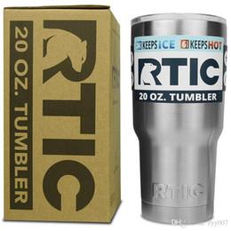Wholesale Vacuum Mugs Coffee - RTIC 30OZ OR 20OZ Tumbler Cups 304 Stainless Steel 30 oz RTIC Rambler Cooler Vacuum Insulated Vehicle Coffee Beer Mug Cups