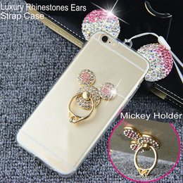 Wholesale Cover For Iphone Mouse - For Samsung Galaxy J5 J7 Cover S8 S7 S6 Edge Plus J510 J710 A5 2016 Mouse Ear Bling Rhinestone TPU Back Cover Phone Case for iPhone X