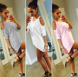 Wholesale Womens Browning T Shirts - 2017 sexy Womens t shirts Tops Solid Tees Long irregular tshirts fashion simple strapless Loose type