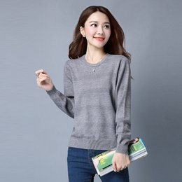 Wholesale Warm Elegant Sweaters - 2017 Winter Women Sweaters Pullovers Solid O Neck Knitted Sweaters Women Elegant Casual Pullovers Warm Knitwear