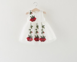 Wholesale Wholesale Sashes For Gowns - Summer Baby Girl Dress 2017 Sleeveless Chiffon Embroidery Rose Dresses For Girls Birthday Gift Clothing Infant Wedding Cool