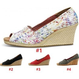 Wholesale Wholesale Cotton Canvas Bags - 2017 New Fashion Wedged Shoes Women's Platform Wedges Casual Shoes 8 Types size US6 to US 10 with Opp bag packing X011