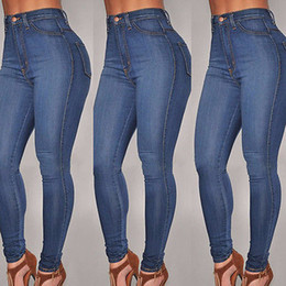 Wholesale Womens Jeans Stretch - Wholesale- New Womens High Waist Stretch Knee Cut Skinny Slim Fit Denim Pencil Jeans