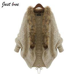 Wholesale Bat Wing Sweaters - Wholesale-Women Sweater 2016 Fashion Spring Autumn Cardigan Fur Collar Women Big Bat Wing Casual Knitting Female Sweater