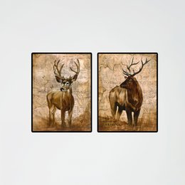 Wholesale Cheap Framed Canvas Art - 2pcs Modern Deer Real Animal Pictures Elk Oil Printing Canvas Paintnecor Photos On Canvas Cheap Living Room Wall Art
