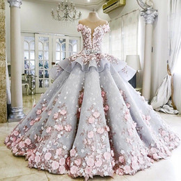 Wholesale Dress Wedding Zuhair - 2017 Luxury Real Photos Ball Gown Wedding Dresses Zuhair Murad Ruffles Skirt Backless Pink Flowers See Through Bridal Gowns Vestido De Novia
