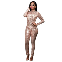 Wholesale Tight Sexy Club Women Jumpsuits - Wholesale- Tight Bodysuit Sexy Overalls Night Club Romper Womens Jumpsuit Playsuit Bodycon Jumpsuit Macacao Woman 2016 Long Sleeve Sequin